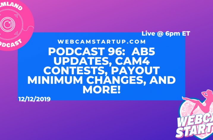 Podcast 96:  AB5 Updates, Cam4 Contests, Payout Minimum Changes, and more!